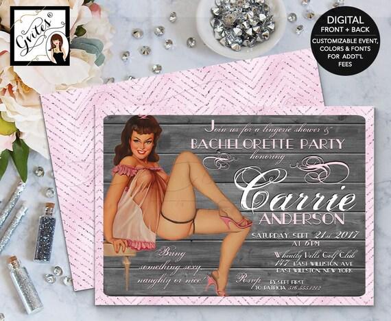 Pin Up Girl Invitation, Pinup Bachelorette Lingerie, Girl invitations, 1950s retro invites, vintage cards, 5x7.