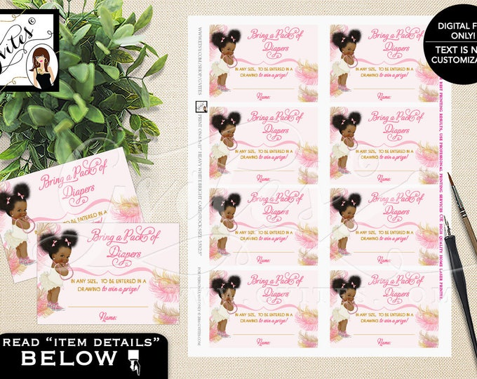 """Diaper Raffle Tickets Printable Pink and Gold Afro Puffs, Vintage Baby Girl African American 3.5x2.5""""/8 Per Sheet #RBNAPU004"""