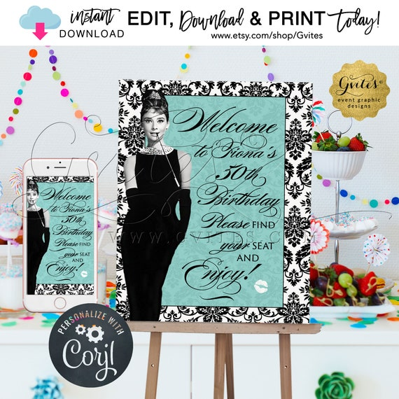 "Birthday Party Welcome Sign Poster/ Audrey Hepburn Party Signs 40th 50th 60th / Breakfast at Blue & Co themed. INSTANT DOWNLOAD {16x20""}"