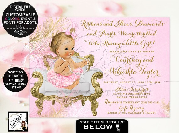 Pink & Gold Baby Girl Shower Invitations/ Ethnic Baby Invites/ Vintage Blush-Pink Tutu Pearl Necklace {Feathers: Gold/ Pink/ White}