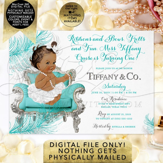 Blue Silver White Baby Birthday Invitation | Personalized/ Custom Breakfast at Co Themed Party Invites. Digital JPG + PDF 7x5""