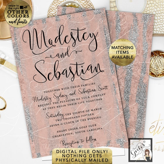 Wedding Watercolor Blush & Silver Invitation. Winter/Spring/Modern Invites/Calligraphy/Pink Mauve Glitter. 5x7""