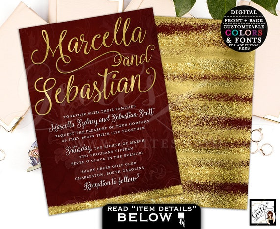 Burgundy Wine/Red & Gold Wedding Watercolor Printable Invitation / Winter/Holiday/New Years Theme.