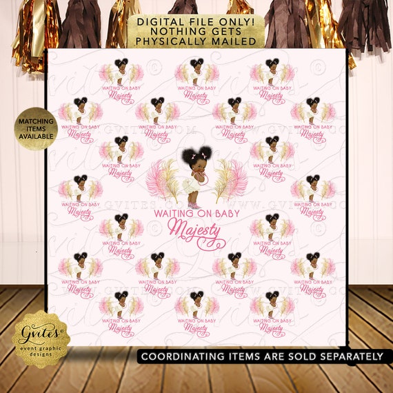 Pink and Gold Girl Baby Shower Backdrop/ Step & Repeat Silhouette Decorations/ African American Baby Girl Puff/ Princess Ballerina