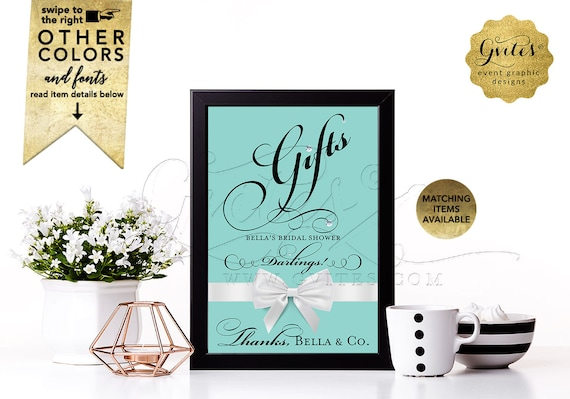 Gifts signs breakfast at bridal shower/ bride and co blue themed table signs white bow/ and co darlings 5x7. CUSTOMIZABLE