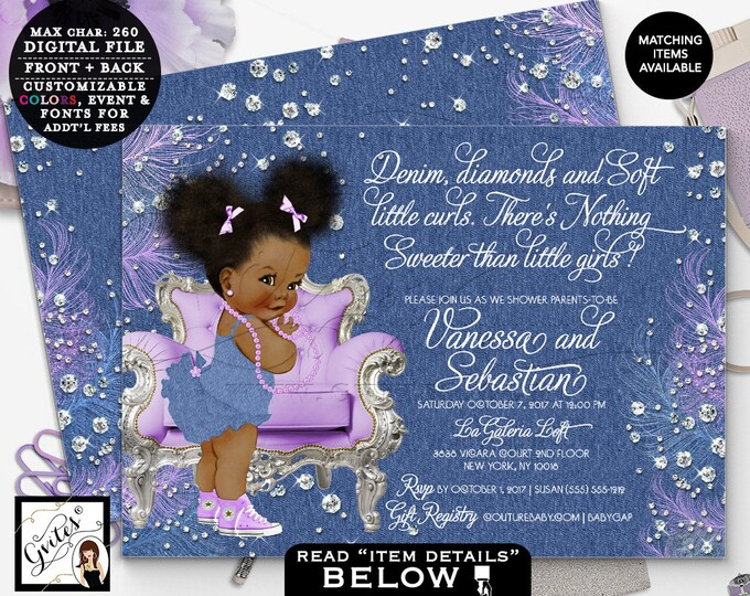 """Denim and diamonds invitations, lavender silver invites, african american baby girl, Digital, double sided, 7x5"""" Afro Puffs. Gvites"""