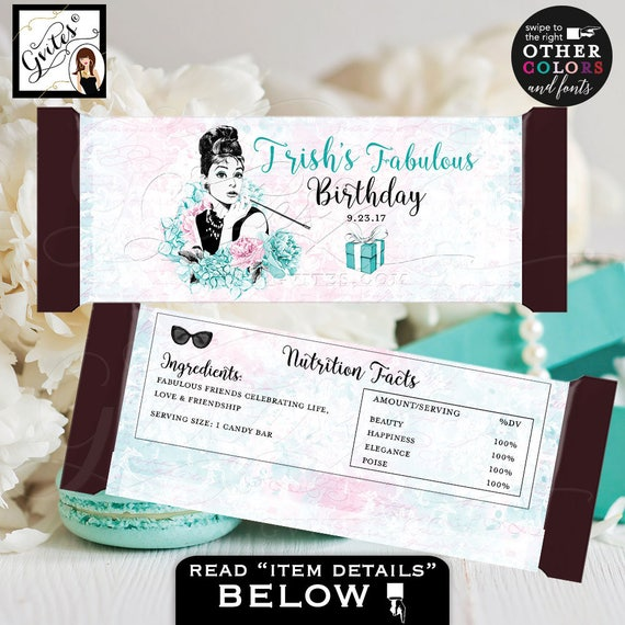 Audrey Hepburn Birthday Candy Bar Wrappers / Blue Black Pink Kentucky Derby Party / Breakfast at Audrey Hepburn smoking.