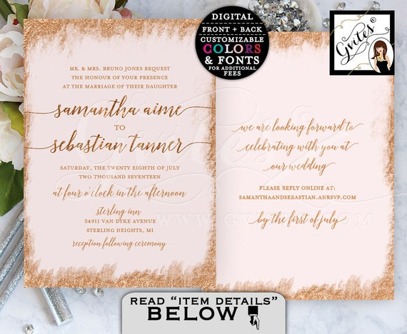 "Rose Gold Printable Wedding Invitation Double Sided. 5x7"" Digital File Only! By Gvites."