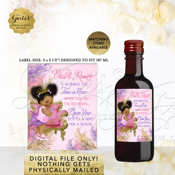 Afro Puffs Theme Mini Wine Labels Pink Purple Gold. Baby On The Way! Shower African American Party Favors 12 Per/Sheet 2x2.5""