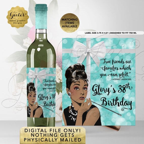 "Personalized Audrey Hepburn 38th Birthday Wine Labels | Printable File Only! Nothing Gets Physically Mailed!  3.75x4.5""/4 Per Sheet}"