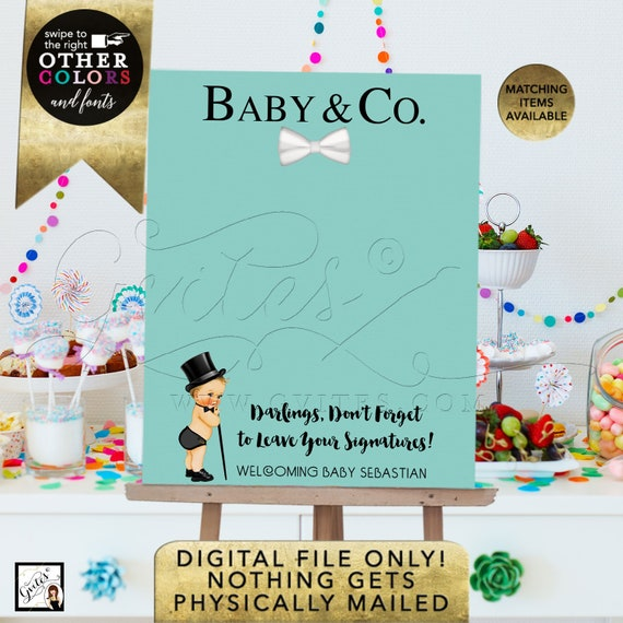 Baby and Co Baby Shower Guest Book Alternative/ please sign our guest book/ blue theme poster signs/ printable party.