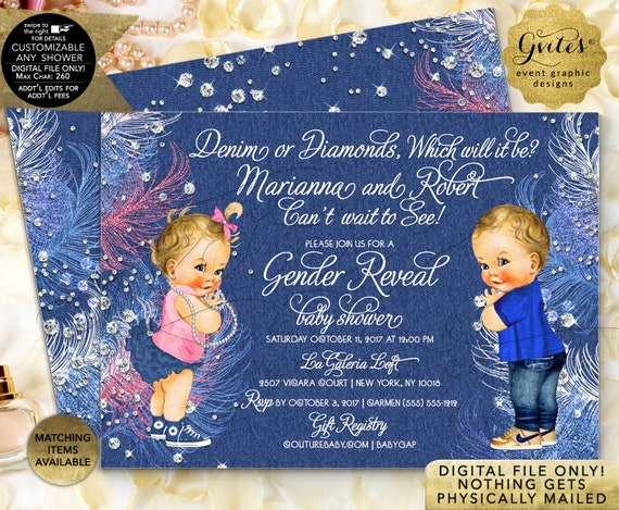 Denim or Diamonds Gender Reveal Baby Shower Invitations | JPG + PDF by Gvites