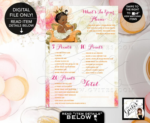 What's In Your Phone Baby Shower Printable Games/ Pink Orange & Ivory/ Princess Girl Vintage Gold Crown Pearls/ Ethnic Baby Invitations