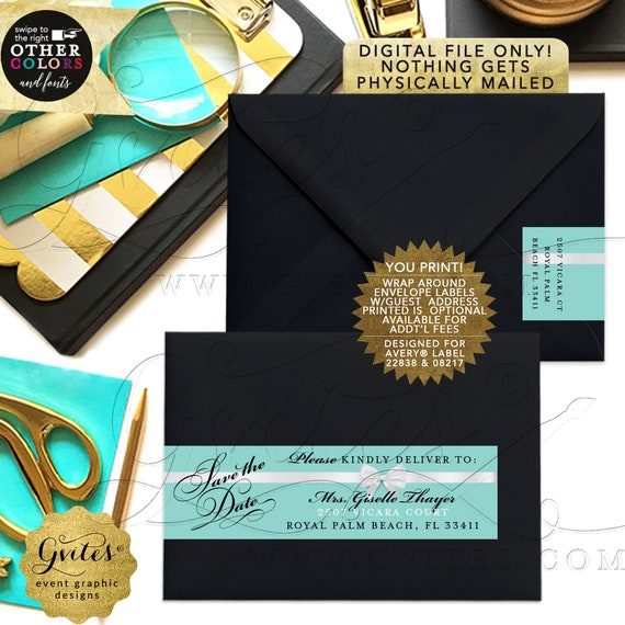 Wrap Around Guest List Address Labels/ Bridal Shower/ Birthday Personalized Avery® 08217/ 22838. {5 Per/ Sheet}