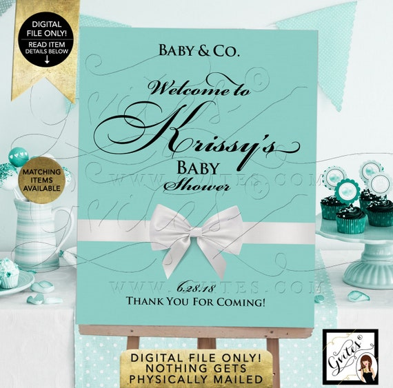 Baby and Co Welcome signs/ baby shower/ breakfast at and co/ printable/ blue poster/ decorations. {Customizable Name & Date ONLY!}