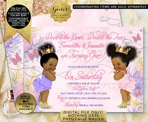 "Twins Birthday Invitations | Lilac/ Purple/ Pink/ Gold/ Yellow | Diamonds Pearls Princess Digital/ Printable/ DIY 7x5"" JPG + PDF"