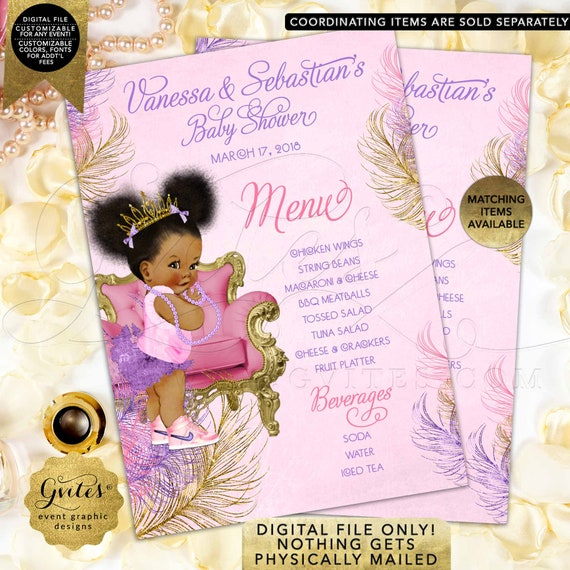 "Menu Cards Pink Purple Gold Baby Shower / Princess Printable Afro Puffs / Vintage Baby Girl / Gold Crown DIY/Digital, 4x6"", 5x7"" or 4x9"
