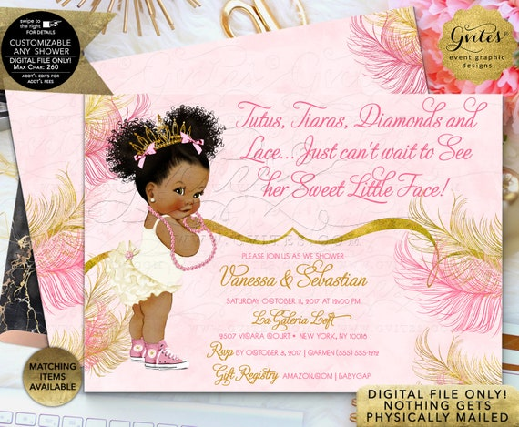 Pink Gold Tutus tiaras diamonds and lace just can't wait to see her sweet little face | JPG + PDF Design: TIACE-105 By Gvites