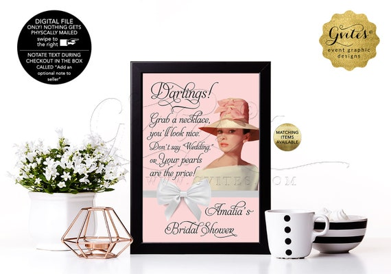 Fun Bridal Shower Necklace Game Sign / Breakfast at Audrey Hepburn Wedding