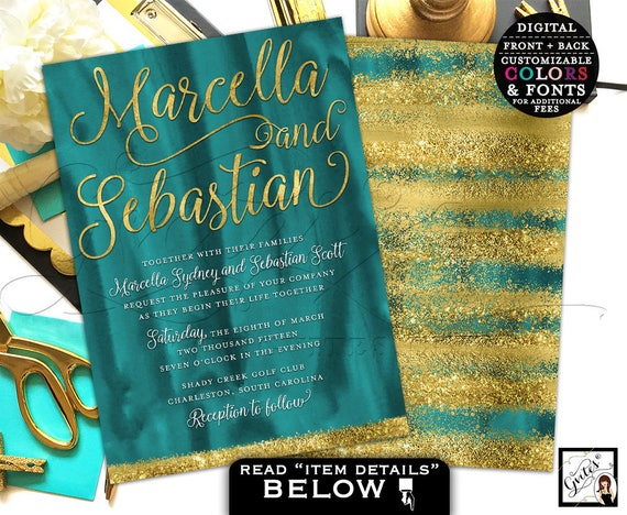 Teal Gold Watercolor Wedding Invitation Printable