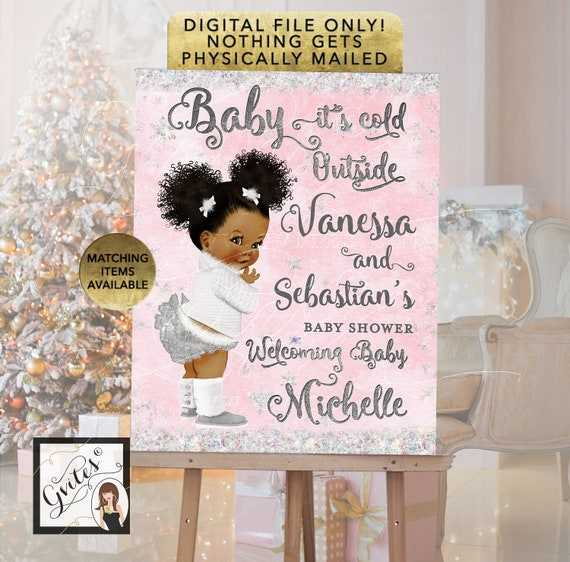 Baby Shower Welcome Sign Pink & Silver - Baby its cold outside winter wonderland printable signs, Digital File Only!