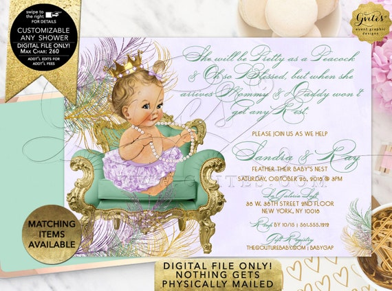 Mint Lavender Gold Baby Shower Invitation Pastel Peacock Colors | Printable Digital JPG + PDF | By Gvites | Design: CWCHS-117