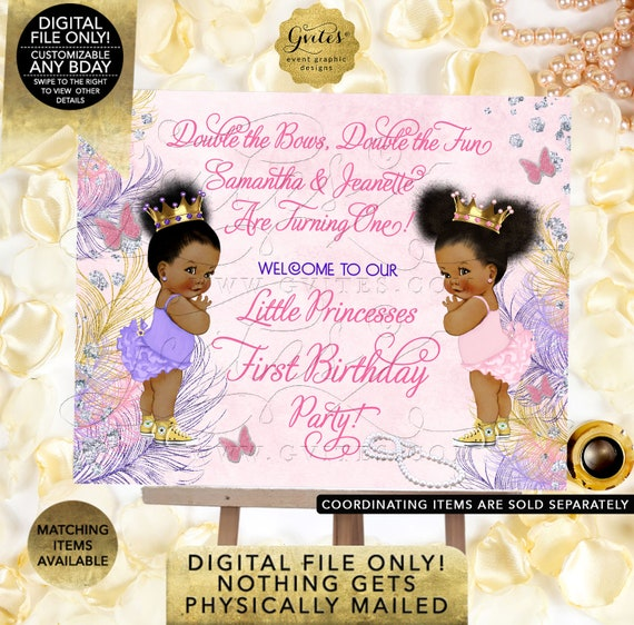 """Twins Birthday Welcome Sign/ Diamonds Pearls Princess Themed. Pink/ Gold/ Purple/ Lavender/ Printable. Digital File Only! 7x5"""" JPG + PDF"""