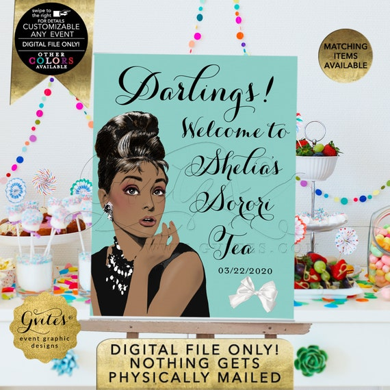 Sorori Tea Welcome Sign Printable File. African American Audrey Hepburn | Digital File Only! JPG + PDF Format | By Gvites