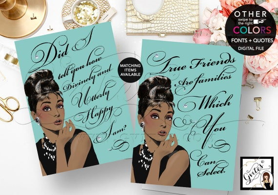 Audrey Hepburn African American Quote Signs/ Bridal Shower Decor/ breakfast at blue party favors/ decor/ 4x6 or 5x7 {Set of 2}