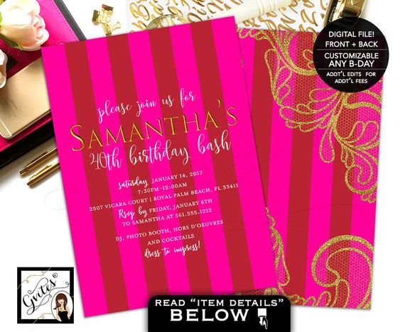 Pink and Gold Birthday Printable Invitations | Stripes/ Modern/ Hot Pink/ Red Theme/ Gold Lace/ DIY JPG + PDF