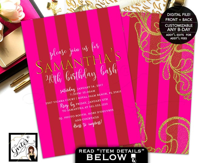 Pink and Gold Birthday Invitations 40th invitation, adult woman invite, stripes, modern, glitz glam designer, double sided, 5x7