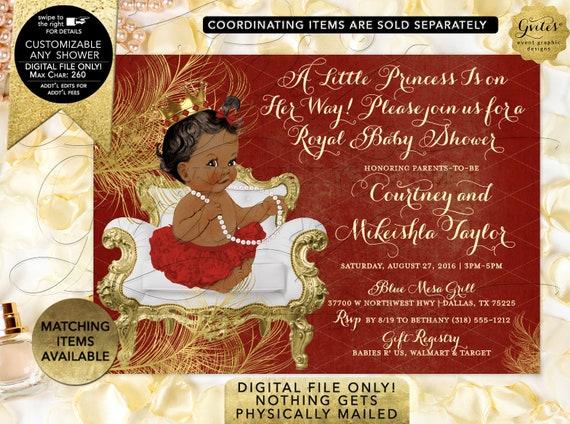 Princess Red Gold Baby Shower Invitation | Digital File Only! JPG + PDF Format | Design: CWCHS-105 By Gvites