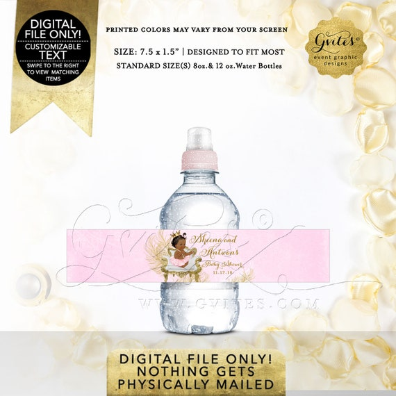 "MINI Pink Gold Water Bottle Labels baby shower | Princess party favors gifts |  7.5 x 1.5""/7  {White/Gold Feathers} 