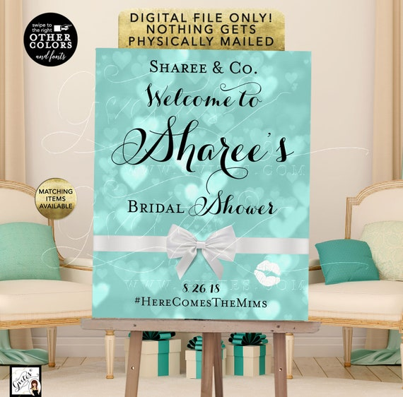 Name and Co Bridal Shower Signs/ Printable Breakfast at Blue Themed Decorations/ Signs Posters/ DIY/ Digital File Only!