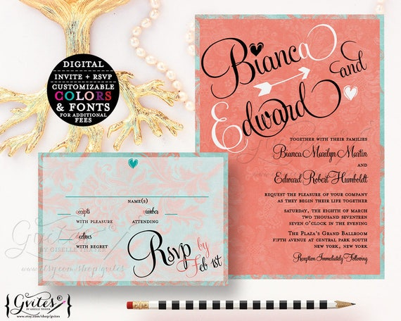 Coral Wedding invitations | Turquoise Blue Coral Watercolor  {You Print}