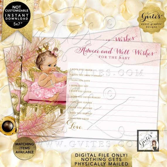 Advice Well Wishes For Baby Blush Pink Gold/ Light Brunette Vintage Girl Gold Crown White Pearls Pink Tutu/ Instant Download JPG & PDF