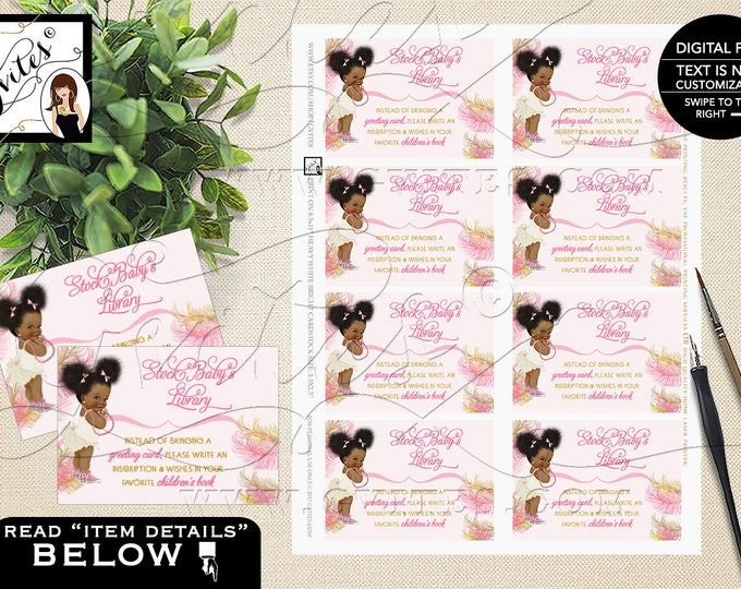 "Book For Baby Shower Invitation Insert Cards, Pink and Gold Afro Puffs, Vintage Baby Girl African American 3.5x2.5""/8 Per Sheet"