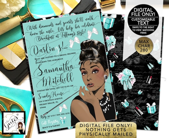 """Breakfast at Tiffany's Invitation, African American Audrey Hepburn Diamonds and Pearls Bridal Shower. DIY, Printable. 5x7"""" Double Sided."""
