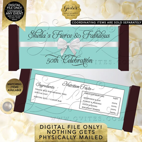 "Candy Wrappers 50th Birthday Fierce & Fabulous Personalized Favors | Printable Digital JPG + PDF |  2 Per/ Sheet 5.25x5.75"" {Satin Ribbon}"
