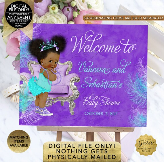 Welcome Baby Shower Sign | Purple Lavender Aqua Turquoise |  Princess Baby Shower | Afro Puffs African American Vintage Gvites