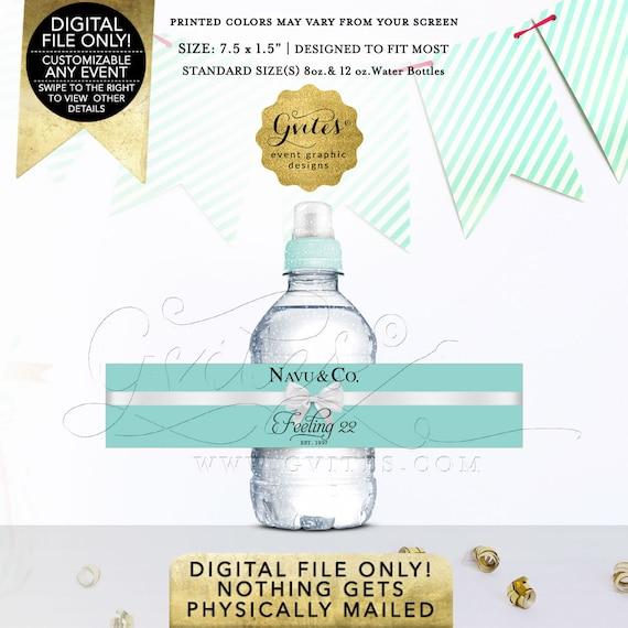 "Birthday Mini Water Bottle Labels Fits 8oz-12oz. Size: 7.5 x 1.5""/7 Per Sheet | By Gvites"
