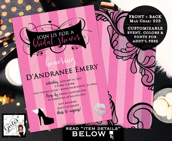 Victoria Secret Bridal Shower Invitation Pink Party
