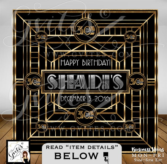 Great Gatsby Backdrop 30th birthday party signs/ step & repeat 1920's theme