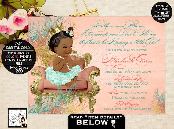 Mint Gold Coral Princess Baby Shower/ Printable Invitation/ African American Sitting Baby on Chair/ Ribbons Bows Diamonds Pearls Theme
