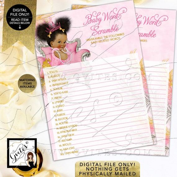 Baby Girl Baby Shower Printable Word Scramble Pink Silver & Gold/ African American Princess INSTANT DOWNLOAD {Pink/ Silver/ Gold Feathers}