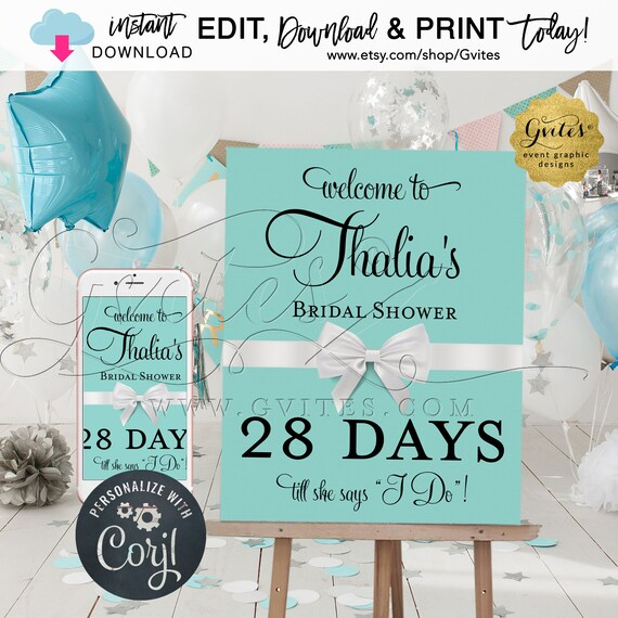 """Welcome Countdown Bridal Shower Sign/Poster. Bride Co/Printable/Breakfast themed. EDIT YOURSELF {Includes: 22x28""""+18x24""""+16x20""""&11x14}"""