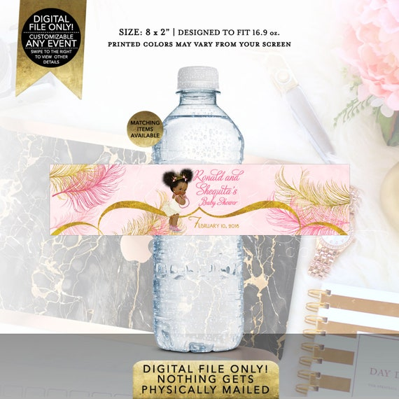 "Pink and Gold Water Labels | Baby Shower Party Favors Afro Puffs Vintage | Digital File | JPG + PDF | 8x2"" 5 Per Sheet 
