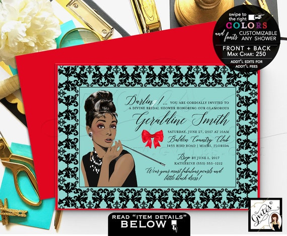 Breakfast Bridal Shower Invitation/ Printable Audrey Hepburn invitations Audrey party themed/ wedding shower. Gvites