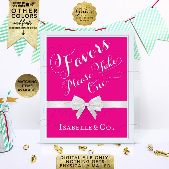 """Favors Please Take One Sign - Personalized bridal shower table decorations, gifts and cards, thank you darling, 8x10"""" Digital File Only!"""