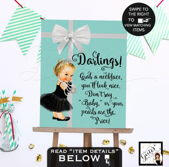 Baby Shower Necklace Game Sign Teal White Bow